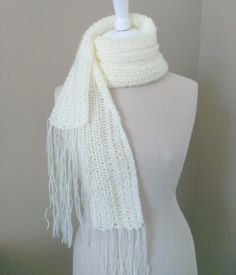 Free Crochet Pattern 57 : Extra Long Fringed Lace Scarf by The Steady Hand.