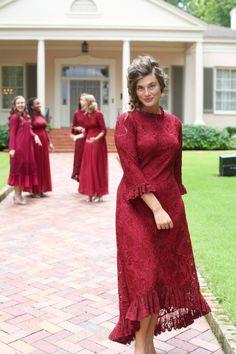 Modest cranberry or burgundy lace Hamptons Dinner Dress. Modest bridesmaids dresses, ruffles, lace, and modest apparel. www.daintyjewells.com