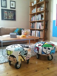 "Ikea stools ""Haparanda"", Ikea fabrics and industrial wheels"