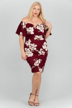 565657078f0 Plus Size Fashion · Feel like a diva and embrace your sophisticated side in  this FLORAL OFF-SHOULDER V