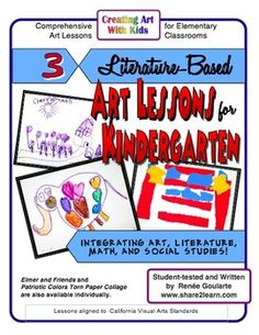 Three Literature-Based Art Lessons for Kindergarten - integrating math, literature, and art - NOW with Draw & Write literature response worksheets.