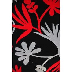 Red//Silver Transitional Flowers Hand-carved Area Rug