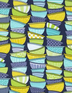 Timeless Treasures Fabric - Kitchen Couture Bowls