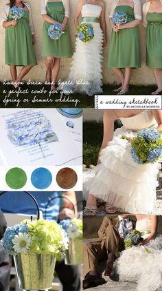 Paleta de cores: verde, azul e branco