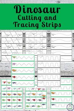 These Dinosaur Tracing and Cutting Strips will have your child enjoying practicing their fine motor skills as well as proper scissor safety. Dinosaurs Preschool, Dinosaur Activities, Educational Activities, Learning Activities, Kids Learning, Physical Activities, Physical Education, Dinosaur Printables, Dementia Activities