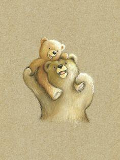 Gail Yerrill - Bear On Dads Shoulders Cartoon Drawings, Animal Drawings, Cute Drawings, Bear Cartoon, Cute Cartoon, Baby Bear Tattoo, Mother Bears, Bear Drawing, Baby Illustration