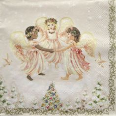 Decoupage paper napkins, Angels dancing, Christmas tree, Little angles,  set of 3 paper napkins, 33x33 cm (no.107) by ArsaiSupplies on Etsy