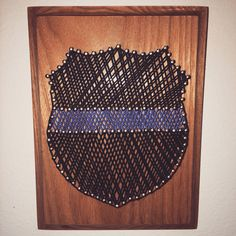 Hand crafted Thin Blue Line, nail-string art.