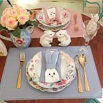 Coisas da Doris Chinoiserie Easter Páscoa talher dourado coelho