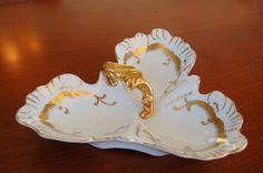 Porcelain Divided Dish Gold Accents Art by CobblestonesVintage
