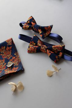 Burnt Orange and Navy Bow Ties from Pocket Square | Stitched Navy Bow Tie, Bow Ties, Fairy Godmother, Fairy Dust, Pocket Square, Silk Fabric, Burnt Orange, Floral Tie, Wedding Colors