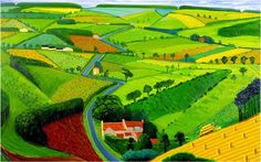 The Road across the Wolds, 1997 by David Hockney. This bright, vivid print depicts the rolling countryside of Hockney's beloved Yorkshire as it part of a larger series of painting he did of the area. David Hockney Landscapes, David Hockney Art, David Hockney Paintings, Ipad Art, Ipad Kunst, Landscape Art, Landscape Paintings, Art Paintings, Pop Art Movement