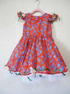 Vestido festa junina infantil +tiara 005