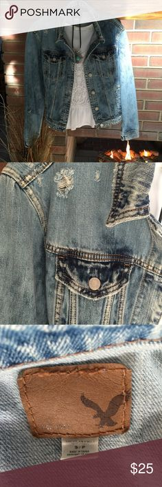 AEO Distressed Denim Jacket Never worn!  Distressed denim that will complement a tank, sweater or dress! American Eagle Outfitters Jackets & Coats Jean Jackets