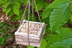 Popsicle Stick Birdfeeder - Things to Make and Do, Crafts and Activities for Kids - The Crafty Crow Fun Crafts To Do, Summer Crafts, Craft Stick Crafts, Crafts For Kids, Diy Crafts, Upcycling Projects For Kids, Art Projects, Popsicle Stick Art, Pop Stick