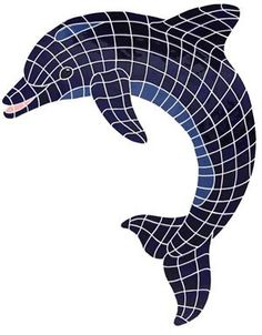 "Large Blue Dolphin Mosaic 52""x41"""