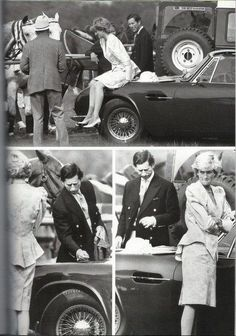 1987 06 16  Charles (JERK!) is not impressed as Diana sits on his Aston Martin and inspects potential damage after he asks her to get off the car's bonnet