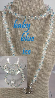 BABY BLUE ICE: $19.99..light blue & pink and pearl beads with crystal clear twine. INTERCHANGEABLE JEWELRY CHAINS that becomes a: lanyard, necklace, choker, belt, or eyeglass chain. Includes gift packs with all connector pieces needed.