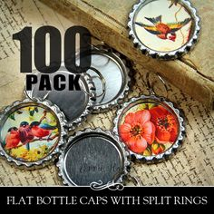 100 Flat Bottle Caps with Split Rings from Annie Howes.