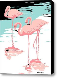 Pink Flamingos, Flamingos, Giclee Canvas Print, Stylized Tropical Birds Art, Retro Pop Art Nouveau on Etsy, $112.75 AUD