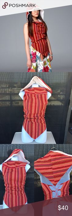 🎁Handmade open back hooded top boho top😍 This sexy halter hooded top is made out handmade thick cotton fabric.  Looks great for gypsy, hippy, boho type of look. It us lined inside with soft voile fabric for comfort.   Size: free Tops Blouses