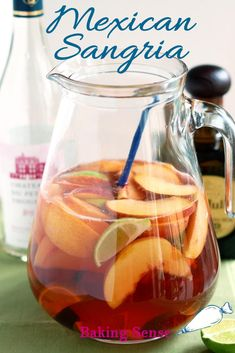 Love Sangria? Try this Mexican Sangria made with tequila for a new take on the classic drink. #red #rose #white #easy #best #tequila #peaches #lime #recipe #how to