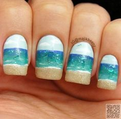 5. Sun and Surf on Your #Nails - 40 #Awesome Beach #Themed Nail Art… #Tropical
