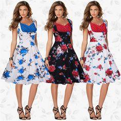 c88114ff97425a US $17.67 39% OFF Wiosna Lato Kobiety Print Dress Formalne Plus Size Szata  Retro Huśtawka Sukienki Wieczorne Party Casual Vintage Vestidos de Festa ...