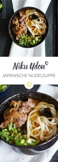 Niku Udon soup - Japanese pleasure with beef - Niku means meat, Udon is a Japan. - Niku Udon soup – Japanese pleasure with beef – Niku means meat, Udon is a Japanese type of noo - Hamburger Meat Recipes, Beef Recipes, Soup Recipes, Cooking Recipes, Healthy Recipes, Healthy Eating Tips, Clean Eating Recipes, Types Of Noodles, Japanese Noodles