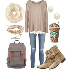 """Cute and Comfy Fall School Outfit"" by natihasi on Polyvore"