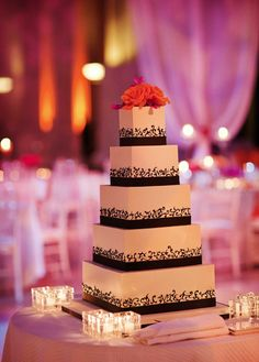 Amazing #weddingcake at this #pink #uplighting #wedding #reception ! #diy #diywedding #weddingideas #weddinginspiration #ideas #inspiration #rentmywedding #celebration #party #weddingplanner #weddingplanning #eventplanner #dreamwedding By #BlissEvents 5 Tier Wedding Cakes, Wedding Sweets, Fall Wedding Cakes, Tuxedo Wedding, Mod Wedding, Dream Wedding, Wedding Day, Wedding Catering, Wedding Receptions
