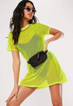 Missguided Yellow Oversized Fishnet T Shirt Dress