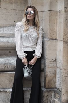 Zara flared trousers, Judith Anne top, Chanel classic flap bag and Finest Seven sunglasses http://www.chouquette.co.uk/pearls-for-christmas/