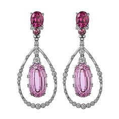 Featherstone Design. Kunzite, Rhodolite, Platinum and Diamond halo earrings