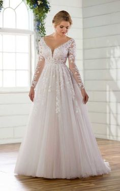 Whimislcal wedding dress idea - long-sleeve wedding dress with lace details - Style by Essense of Australia . Find more Essense of Australia wedding dress inspo on WeddingWire! dresses plus size Wedding Dress out of Essense of Australia - Essense Of Australia Wedding Dresses, Plus Wedding Dresses, Maxi Dress Wedding, Wedding Dress Trends, Wedding Dress Sleeves, Bridal Dresses, Bridesmaid Dresses, Lace Sleeves, Gown Wedding