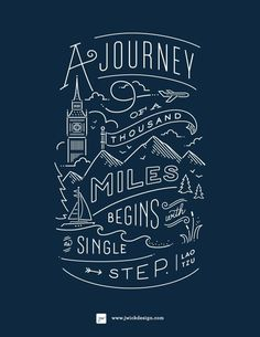 Typography & Lettering on Designspiration | Journey navy print #line #drawing