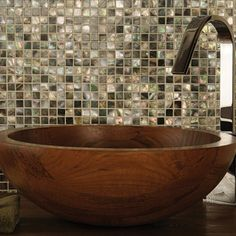 GroBartig ... Of Pearl Tile For Home Improvement: Vessel Sink And Chrome Bathroom  Faucets With Mother Of Pearl Tile Also Wood Countertops And Seashell  Backsplash