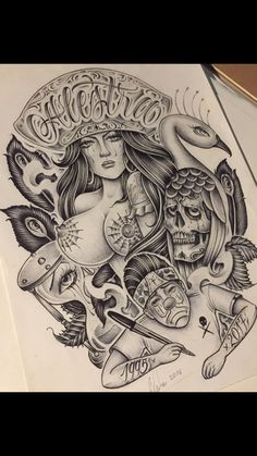 Behind Ear Tattoos, Brown Pride, Chicano Art, Female Faces, Woman Face, Bigbang, Street Art, Tattoo Designs, Mexican