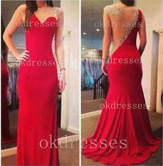 Sexy Mermaid Red Evening DressSee Through Sheath by Okdresses, $179.00