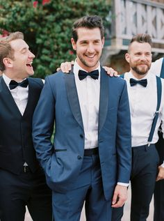 Dapper groom in a blue suit: Photography : Sarah Kate Read More on SMP: http://www.stylemepretty.com/little-black-book-blog/2016/07/13/soap-opera-stars-wedding-better-than-any-daytime-tv-love-story/