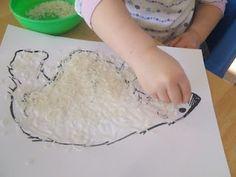 Textured Polar Bear with rice or maybe glue/shaving cream mixture