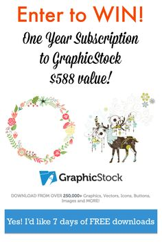 WOW! Enter to WIN One Year Subscription to GraphicStock ($588 value).  Make your own Beautiful DIY Gift tags, pendants, and invitations! 7 day trial of completely FREE access to over 250,000 images too!