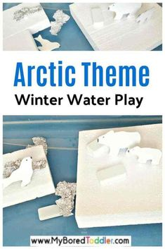 Arctic Sensory Bin with Water - My Bored Toddler Water Play Activities, Fun Activities For Toddlers, Preschool Themes, Infant Activities, Winter Activities, Play Activity, Family Activities, Learning Activities, Toddler Sensory Bins