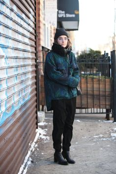 """15 Photos Of NYC Women Looking Winter Chic #refinery29  http://www.refinery29.com/nyc-winter-layering-street-style#slide-3  Name: Madeline PooleSpotted In: WilliamsburgWhat She's Wearing: Theory pants, Stella McCartney jacket, Balenciaga shoes, and a Mansur Gavriel bag.What is your number one styling tip or trick for surviving the winter in New York City? """"Touchscreen gloves."""""""