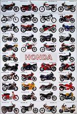 """Honda Motos Cartel de 23 """"X 34"""" Japonesa Motos 42 Modelos Envío Gratis A Nivel Mundial."""