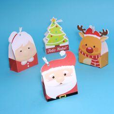 Caixa para 2 doces com temática de Natal. São 4 modelos diferentes: papai Noel, mamãe Noel, rena Rudolph e árvore de Natal.