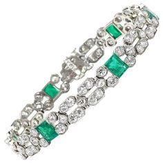 $24,312.  c1935 Art Deco Emerald Diamond platinum Bracelet   From a unique collection of vintage link bracelets at https://www.1stdibs.com/jewelry/bracelets/link-bracelets/