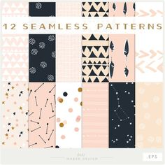 12 high quality digital seamless paper pack patterns in a soft pink, gold, peach, and dark navy blue color theme. Arrows, stars, night skys,