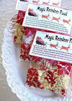 Reindeer Food Recipe:  1 cup oatmeal 1 cup white sugar 1/4 to 1/2 cup red and green colored decorating sugar crystals