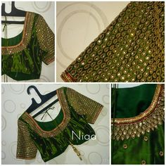 Saree Kuchu Designs, Kids Blouse Designs, Blouse Neck Designs, Sari Design, Designer Kurtis, Embroidery Neck Designs, Beaded Embroidery, Hand Embroidery, Mirror Work Blouse Design